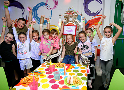 A group of kids celebrating a birthday party