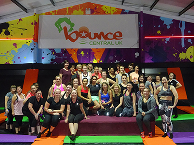 A group of customers attending a fitness class